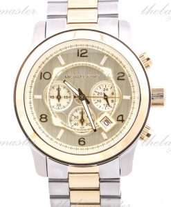 Michael Kors Mens Watch Two Tone Stainless Steel Quartz Chronograph Gold Dial MK8098