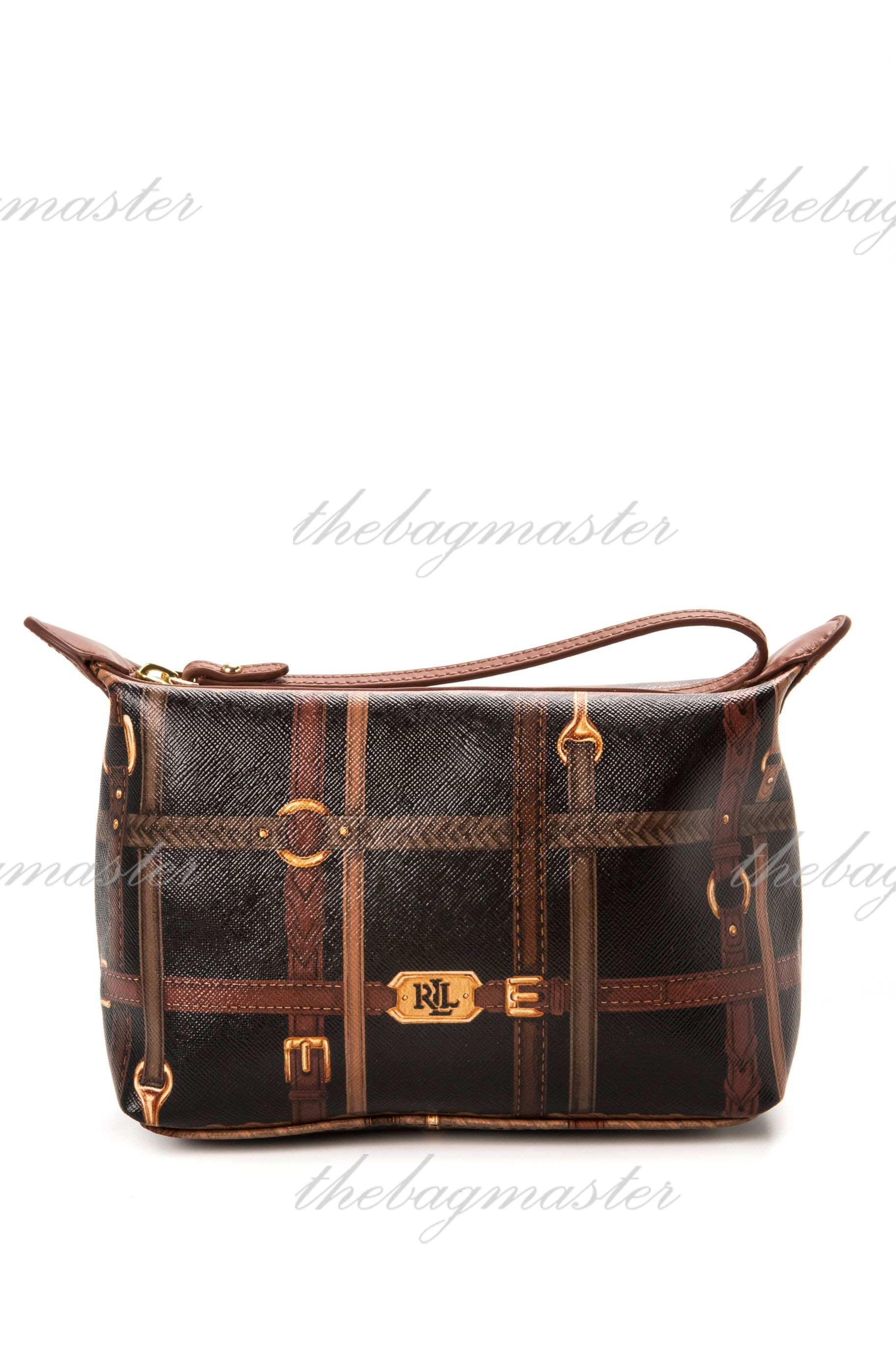 5a3f3575fa Ralph Lauren Gallaway Belting Cosmetic Pouch - Brown — The Lifestyle ...