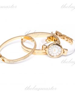 Anne Klein Women's AK/2048GBST Gold-Tone and White Ceramic Bangle Watch & Bracelet Set