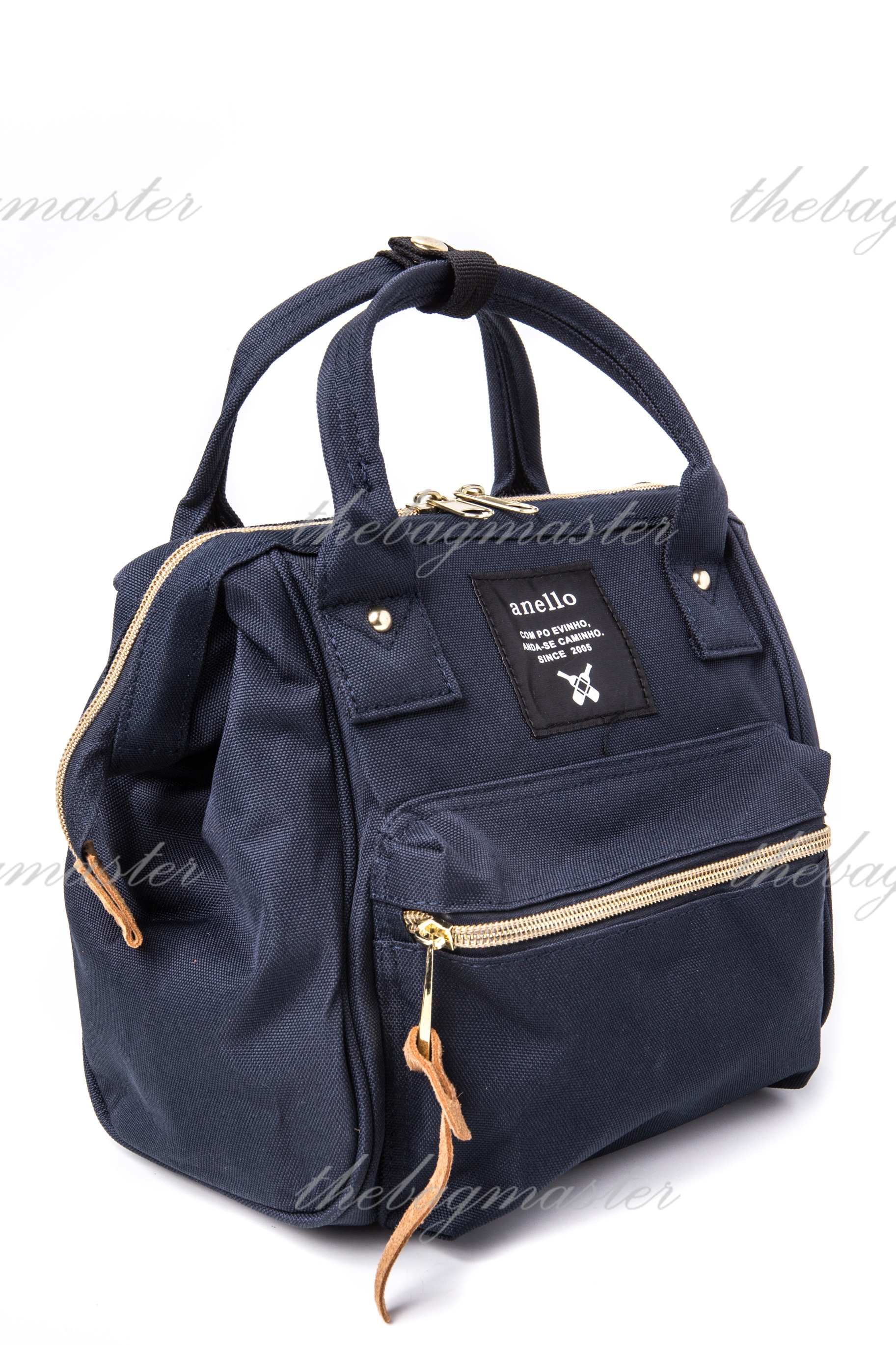 ANELLO Japan Polyester Canvas Mini Boston Sling Bag - Navy blue ...