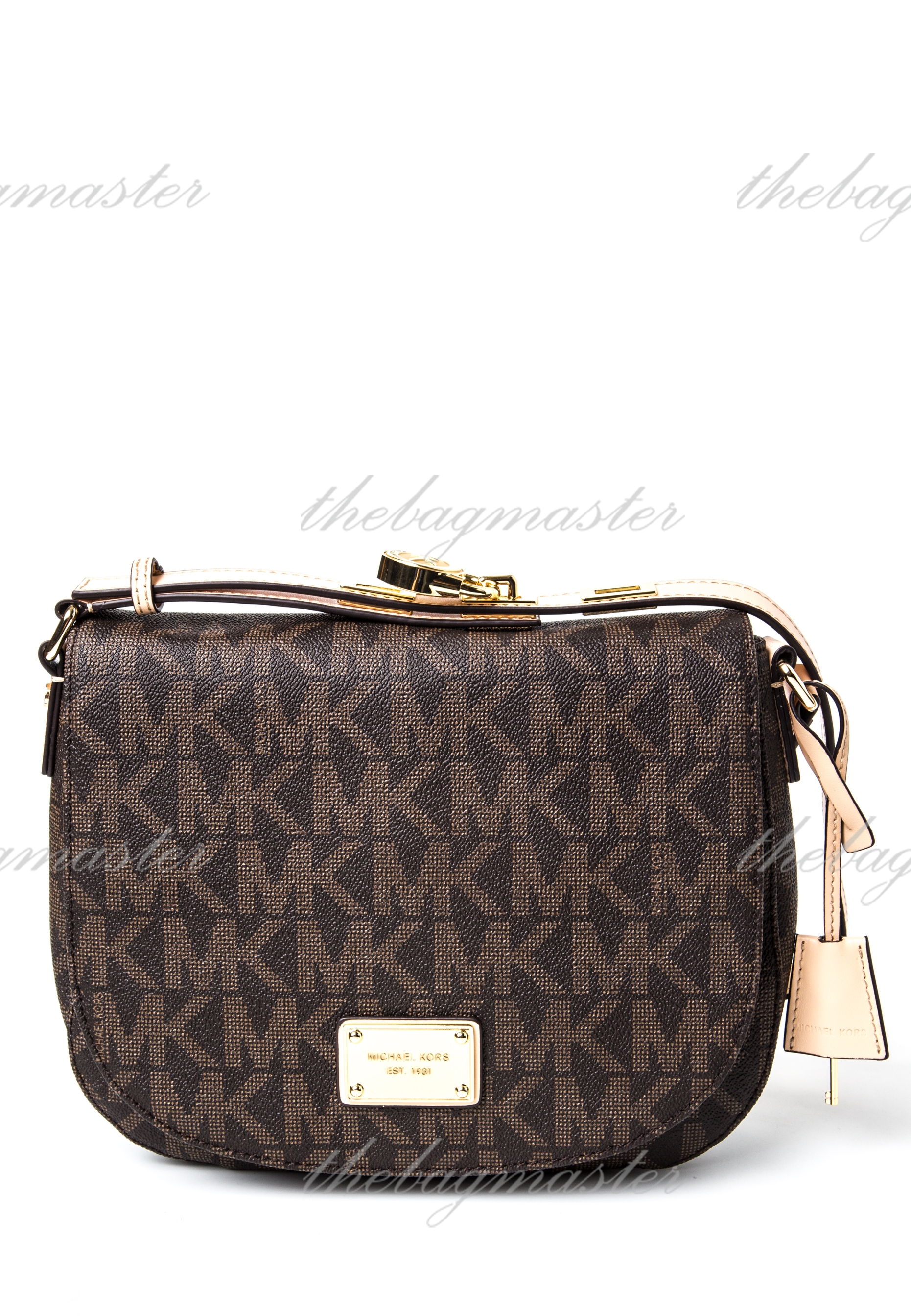b21b825d67fdb Michael Kors Hamilton MK Signature PVC Messenger Crossbody Bag – Luggage  Brown