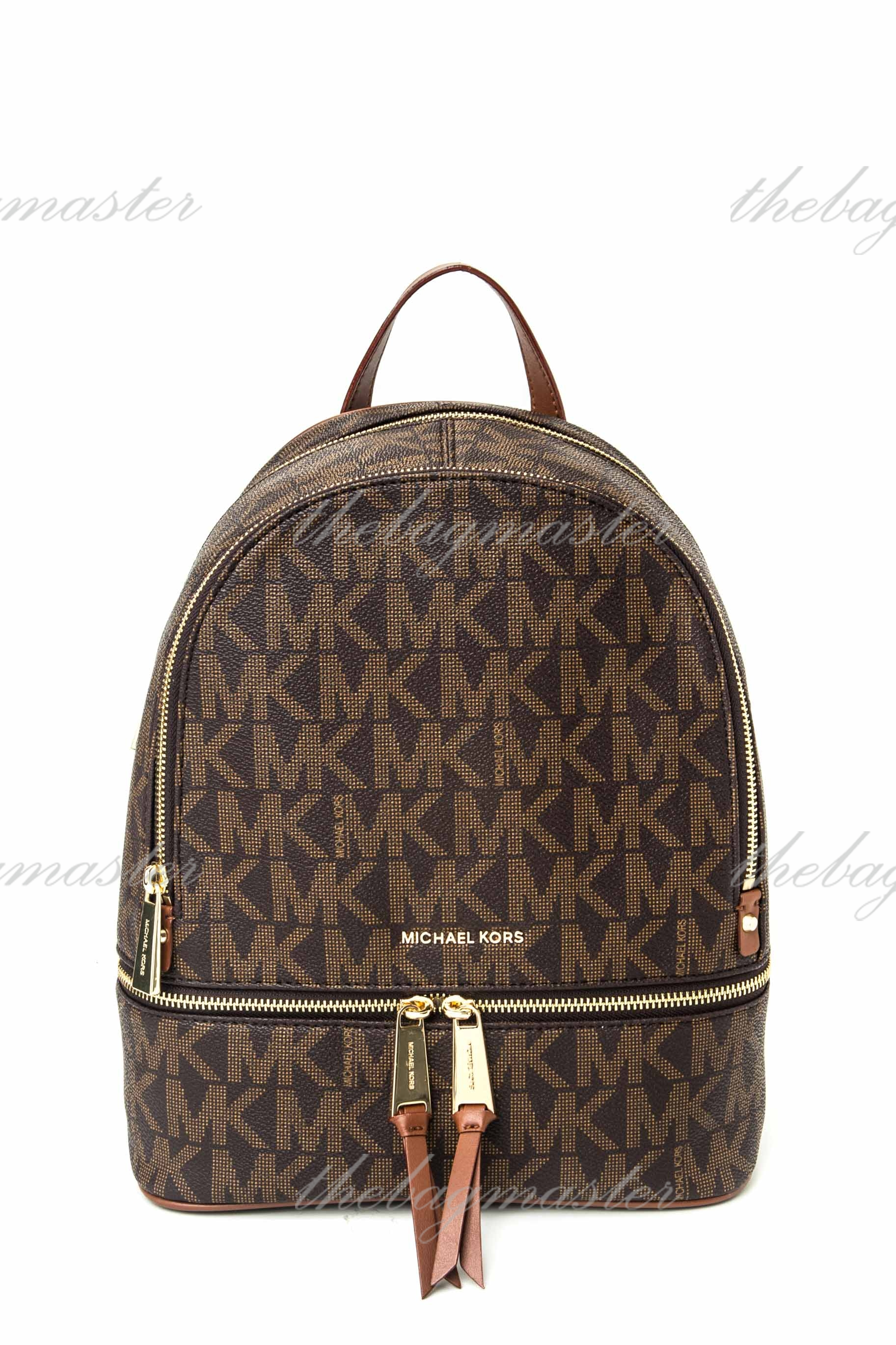 bcd1225094 Michael Kors Rhea Leather Monogram Backpack - Luggage Brown — The ...