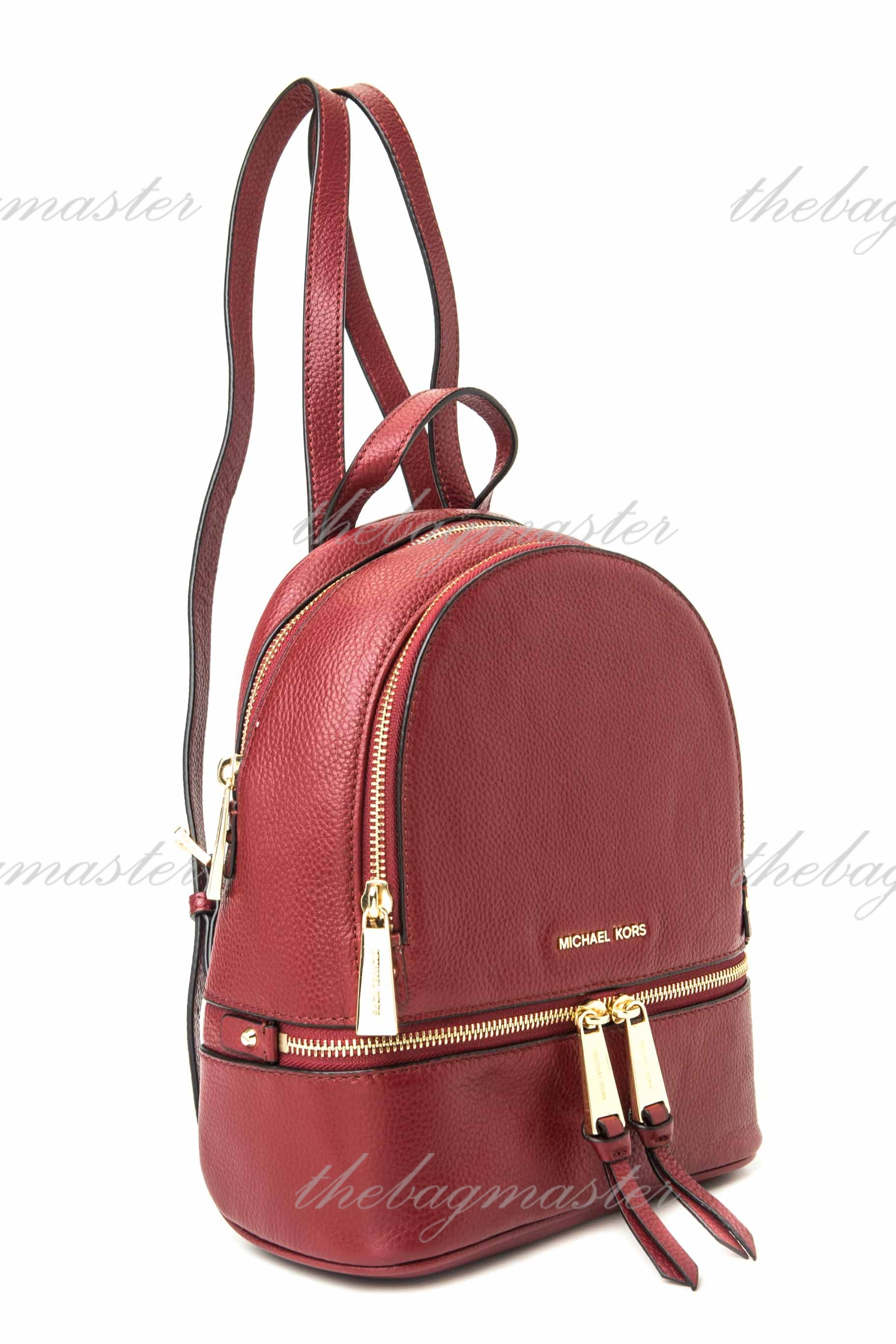 Michael Kors Rhea Small Leather Backpack - Red Wine — The ...