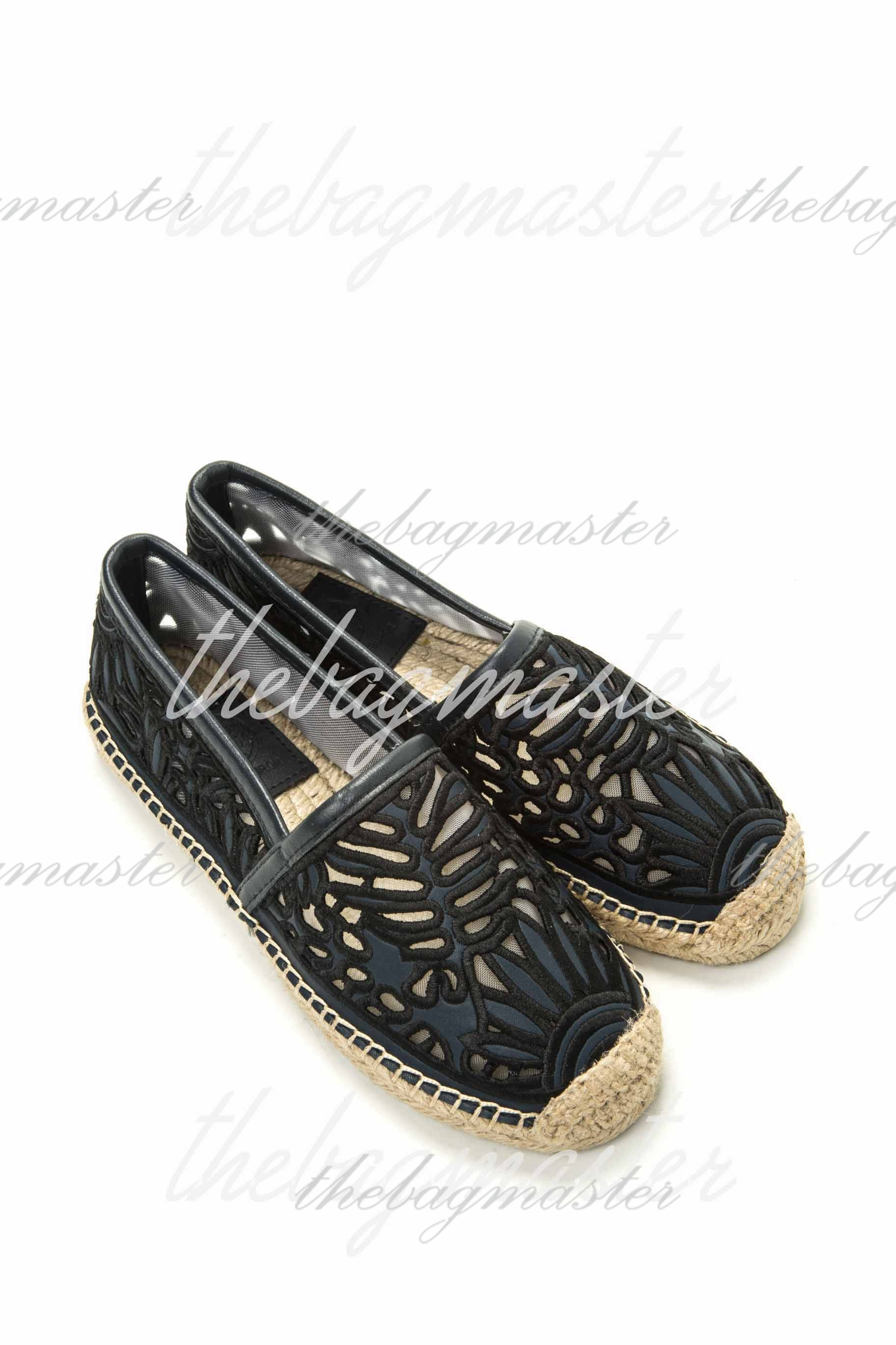 7b61b9ef83a Tory Burch Espadrille Flats Rhea Lace Size 5 - Navy Blue — The ...