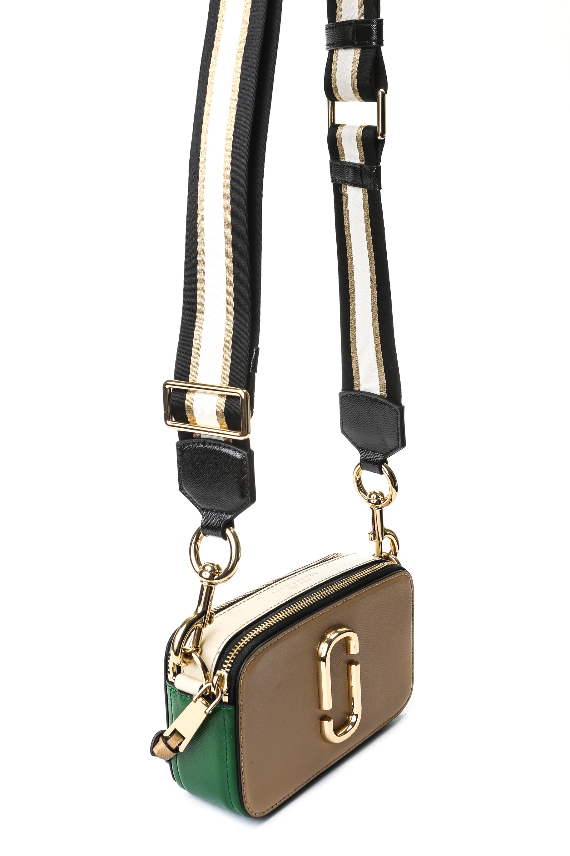 23cf229f3 Marc Jacobs Snapshot Camera Bag - Beige/ Green with Stripe Strap ...